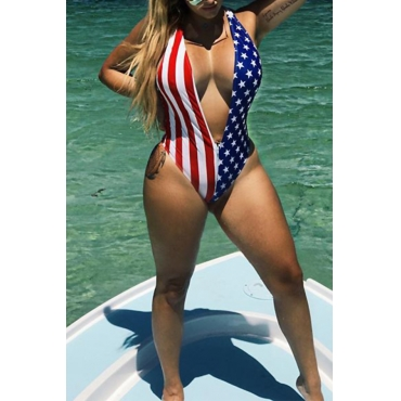 Lovely Fashion Deep V Neck American Flag Printed Polyester One-piece Swimwears