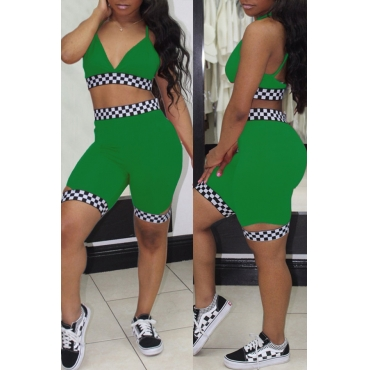 Lovely Sexy V Neck Plaids Printed Green Polyester Two-piece Shorts Set