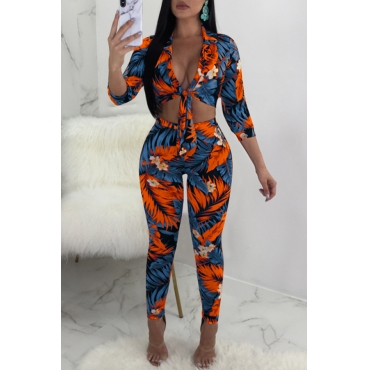 Lovely Fashion Turndown Collar Printed Deep Blue Polyester Two-piece Pants Set
