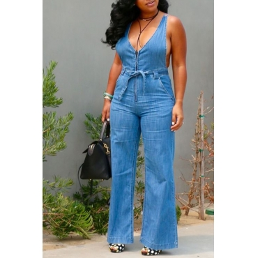 Lovely Leisure V Neck Zipper Design Blue Denim One-piece Jumpsuits
