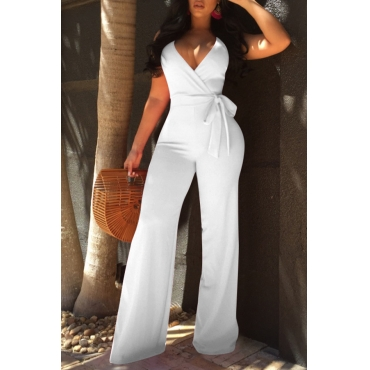 Lovely Elegant V Neck SleeveLess White Polyester One-piece Jumpsuits(With Belt)