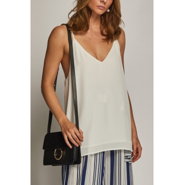 Lovely Casual V Neck White Rayon Tank Top