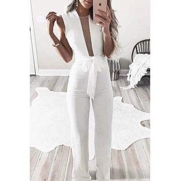 Lovely Trendy Round Neck Net Yarn Splicing White Blending One-piece Jumpsuits(With Belt)