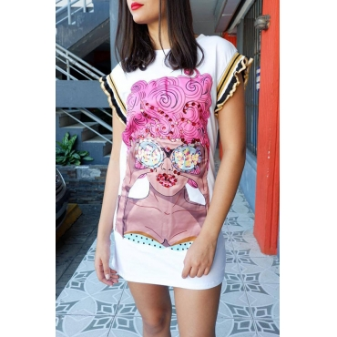 Lovely Casual Round Neck Sequins Decoration Cartoon Characters Printed White Twilled Satin Mini Dress