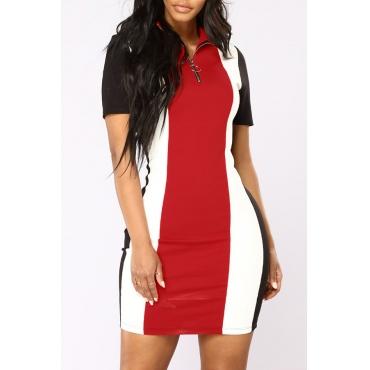 Lovely Stylish Turndown Collar Patchwork Red Twilled Satin Mini Dress