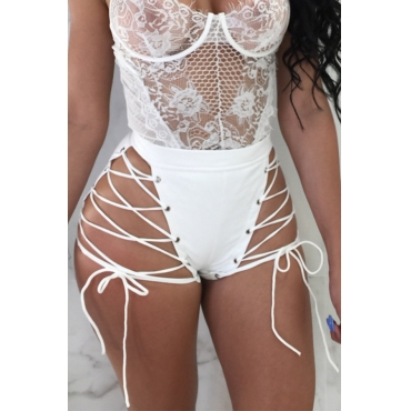 Lovely Chic High Elastic Waist Lace-up White PU Shorts