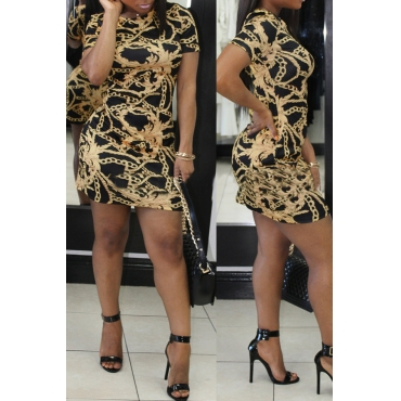Lovely Fashion Round Neck Short Sleeves Printing Black Healthy Fabric Mini Dress