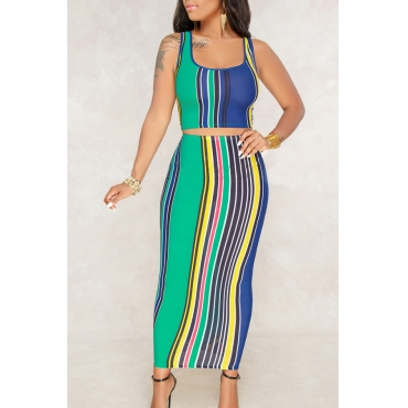 Lovely Casual U Neck Striped Green Qmilch Two-piece Skirt Set