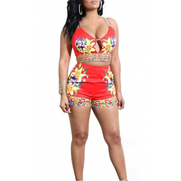 Lovely Sexy V Neck Lace-up Floral Printed Red Blending Two-piece Shorts Set
