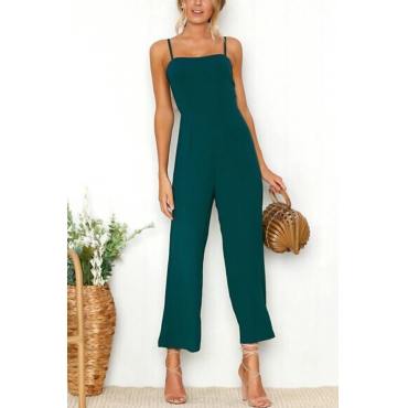 Lovely Fashion Spaghetti Strap Sleeveless Blue Polyester One-piece Jumpsuits