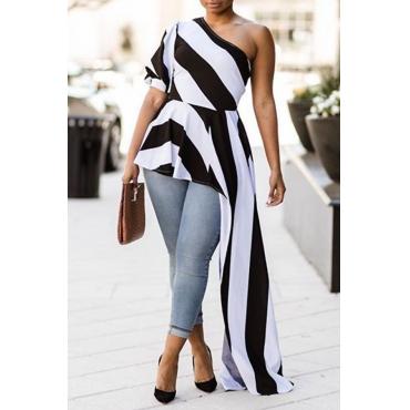 Lovely Chic Show A Shoulder Irregular Design Black+White Striped Cotton Blends Shirts
