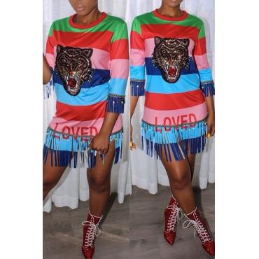 Lovely Chic Round Neck  Fringe Tassels Tiger Head Printed Striped Patchwork Cotton Blend Mini Dress