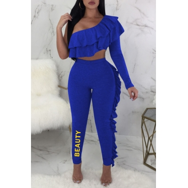 Lovely Sexy Show A Shoulder Flounce Letters Printed Blue Polyester Two-piece Pants Set