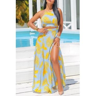 Lovely Elegant Round Neck Side Slit Leaf Printed Yellow Polyester Two-piece Skirt Set