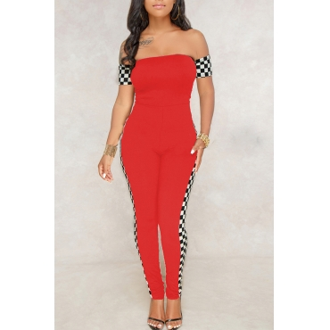 Lovely Fashion Bateau Neck Plaid Printed Red Polyester One-piece Jumpsuits