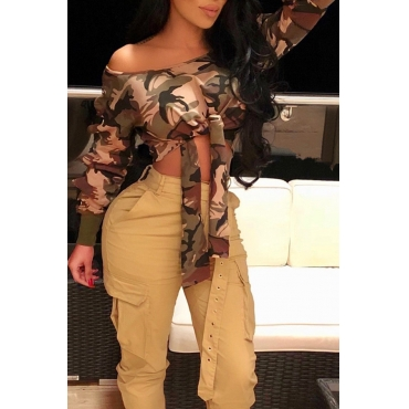 Lovely Fashion Sloping Shoulder Bandage Camouflage Cotton Blends Hoodies