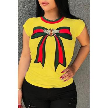 Lindo Lindo Em Volta Do Pescoço Arco Impresso Amarelo Algodão Combina T-shirt