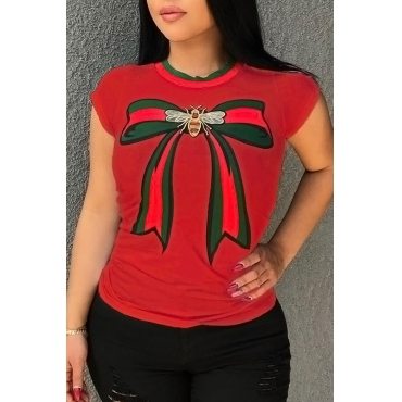 Lovely Pretty Round Neck Bow Printed Red Cotton Blends T-shirt