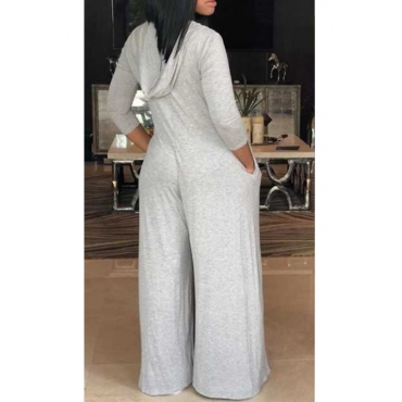 Lovely Trendy Hooded Collar Three Quarter Sleeves Light Grey Polyester One-piece Jumpsuits