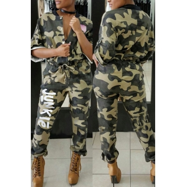 Lovely Trendy V Neck Letters Printed Camo Cotton Blends One-piece Jumpsuits