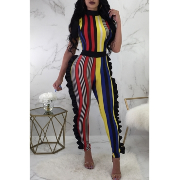 Lovely Sexy Round Neck Ruffle Striped Patchwork Polyester One-piece Jumpsuits