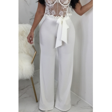 Lovely Trendy Mid Waist White Cotton Blends Zipped Pants(With Belt)