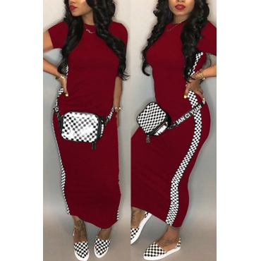 LovelyFashion Round Neck Grid Printed Wine Red Blending Ankle Length Dress