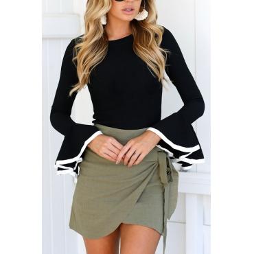 Lovely Fashionable Round Neck Mandarin Sleeves Black Cotton Blends T-shirt