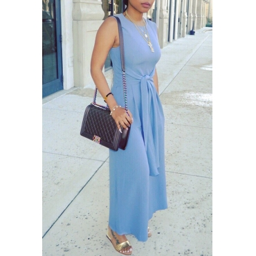 Lovely Trendy Round Neck Bandage Baby Blue Polyester One-piece Jumpsuits
