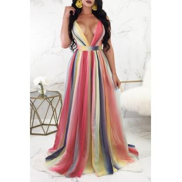 Lovely Bohemian Deep V Neck Backless Gradient Ramp Chiffon Floor Length Dress