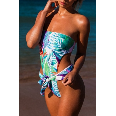 Lovely Nifty Bateau Neck Bandage Printed Blue Polyester One-piece Swimwears