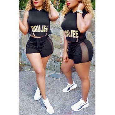LovelyFashion Hooded Collar Letters Printed Black Polyester Two-piece Shorts Set