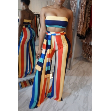 Lovely Casual Bateau Neck Striped Printed Qmilch Two-piece Pants Set(With Belt)