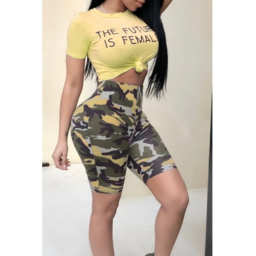 Lovely Casual Round Neck Letters Printed Yellow Qmilch Two-piece Shorts Set