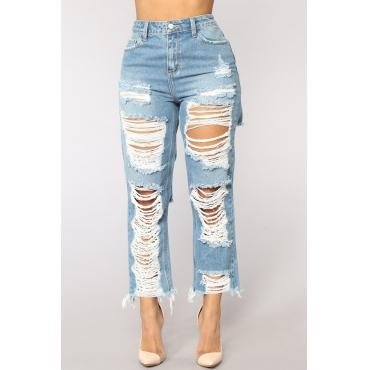 Lovely Chic Mid Waist Broken Holes Baby Blue Denim Zipped Jeans