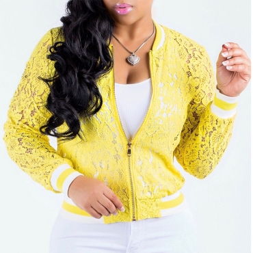 Lovely Retro V Neck Long Sleeves Hollow-out Yellow Lace Zipped Coat