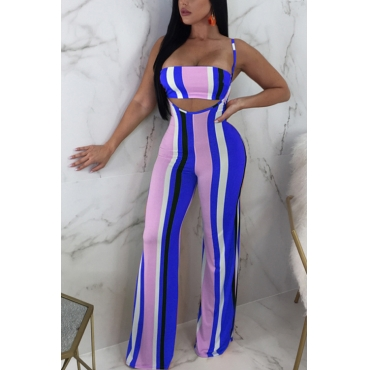 Lovely Sexy Striped Dark Blue Polyester Two-piece Pants Set