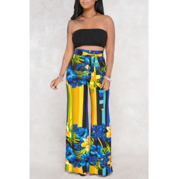 Lovely Sexy Bateau Neck Floral Printed Blue Qmilch Two-piece Pants Set