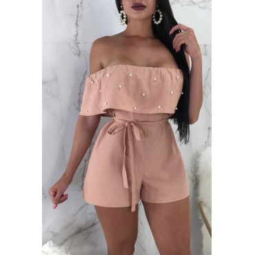 Lovely Nifty Bateau Neck Nailed Pearl Flounce Pink Chiffon One-piece Short Jumpsuits