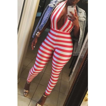 Lovely Fashion Halter Neck Backless Red Striped Polyester One-piece Jumpsuits