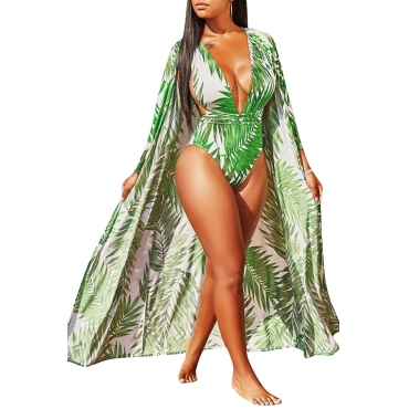 Lovely Casual V Neck Leaf Printed Light Green Polyester One-piece Swimwears(With Cover-Ups)