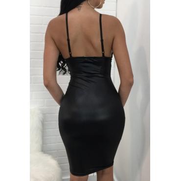 Lovely PU Sexy V Neck Spaghetti Strap Sleeveless Sheath Knee Length Dresses