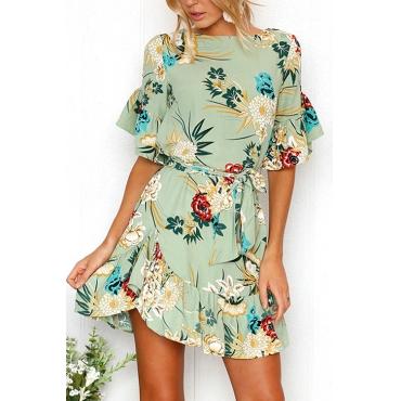 Lovely Blending Bohemian U neck Cap Sleeve Short Sleeve A Line Mini Dresses
