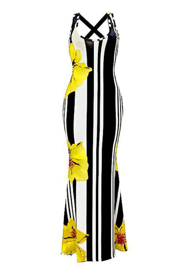 Lovely Casual U Neck Striped+Floral Printed Yellow Blending Floor Length Dress
