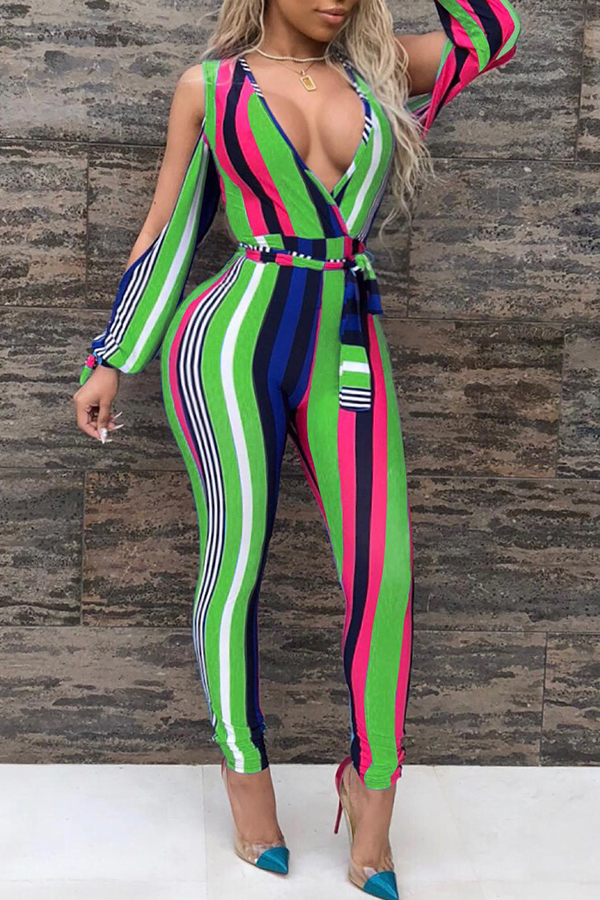 093270f337d5 Lovely Trendy V Neck Striped Green Polyester One-piece Jumpsuits(With Belt)