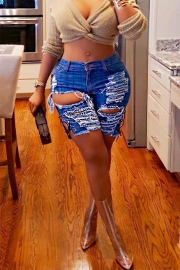 Lovely Chic Mid Waist Broken Holes Deep Blue Denim Zipped Shorts
