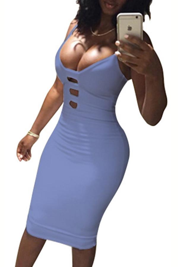 Lovely Sexy V Neck Spaghetti Strap Sleeveless Purple Cotton Sheath Knee Length Women Dress
