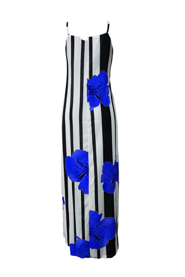 LovelyCasual U Neck Striped+Floral Printed Blue Blending Floor Length Dress