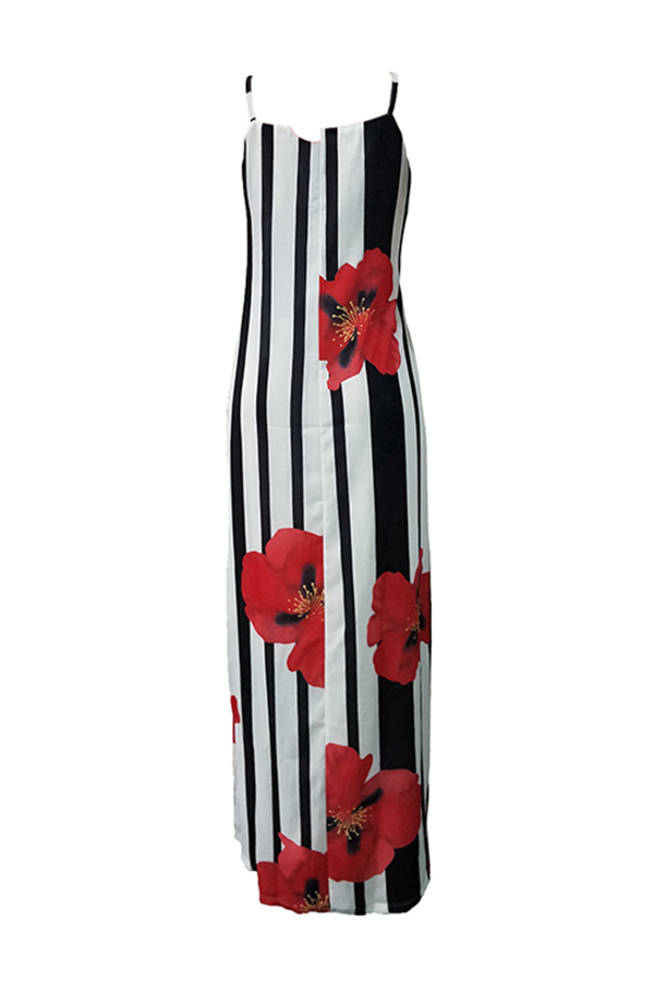 Lovely Casual U Neck Striped+Floral Printed Red Blending Floor Length Dress