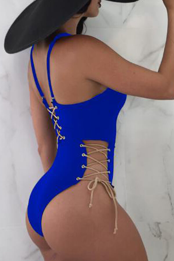 Lovely Chic Lace-up Blue  One-piece Swimwear